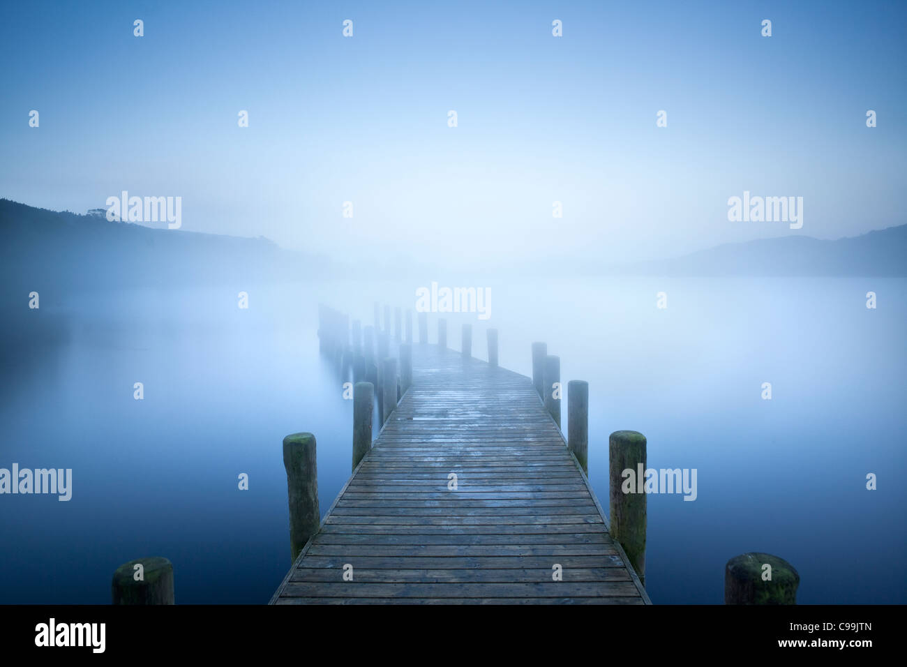 Landing Jetty on Coniston water, Lake District, Cumbria, England - Stock Image