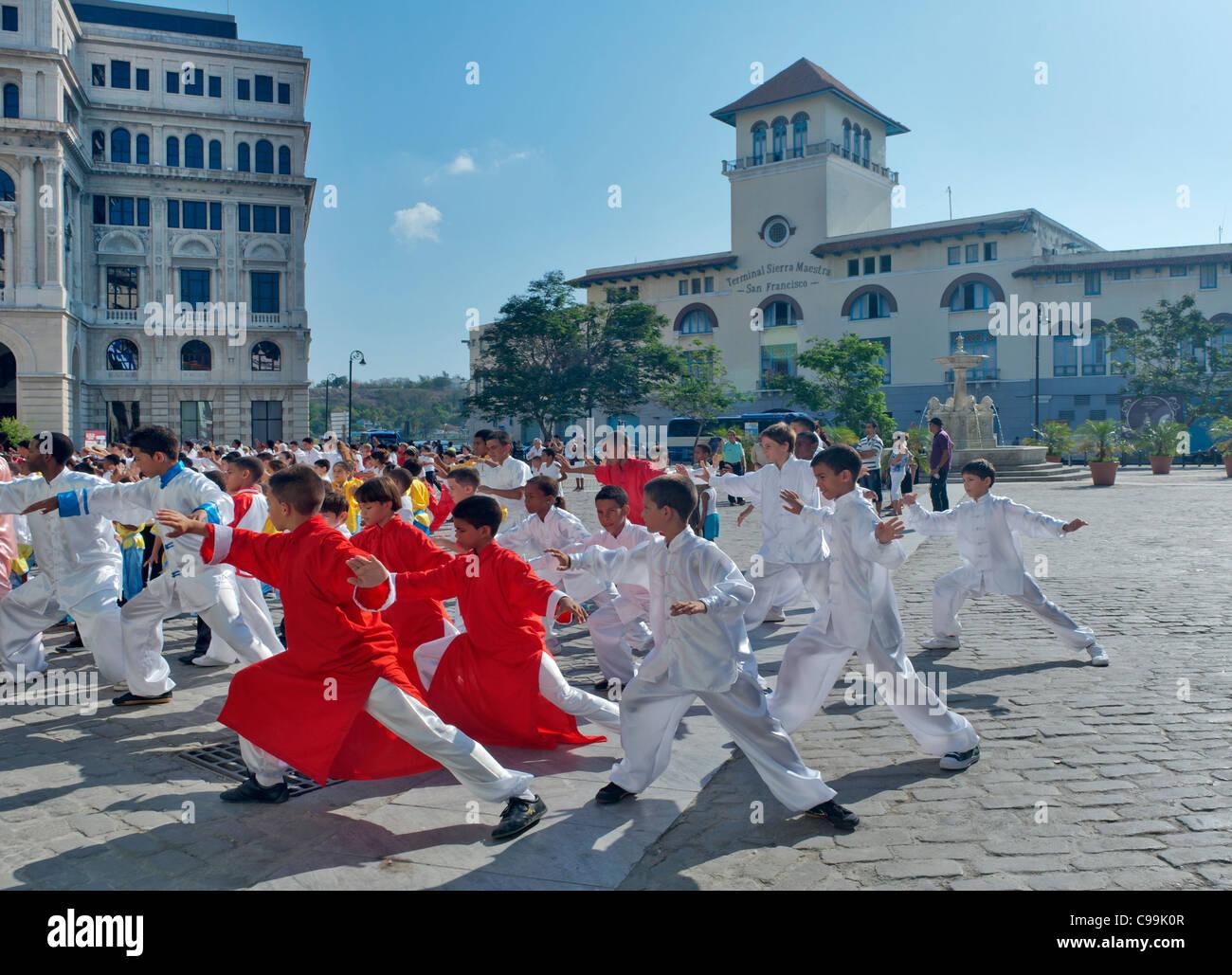 Plaza San Francisco Tai Chi activities Havana Cuba - Stock Image