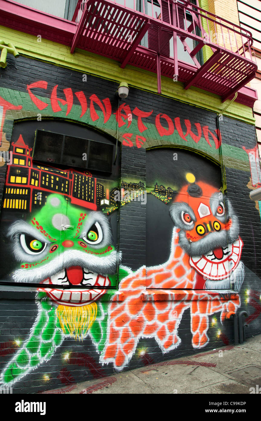 Chinatown SF science fiction Mural wall painting  China Town San Francisco California USA American United States - Stock Image