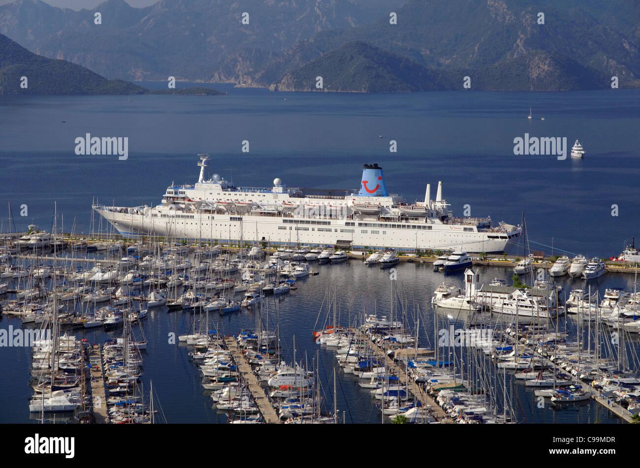 Thomson 'Celebration' cruise ship at Marmaris cruise port, Muğla, Turkey - Stock Image