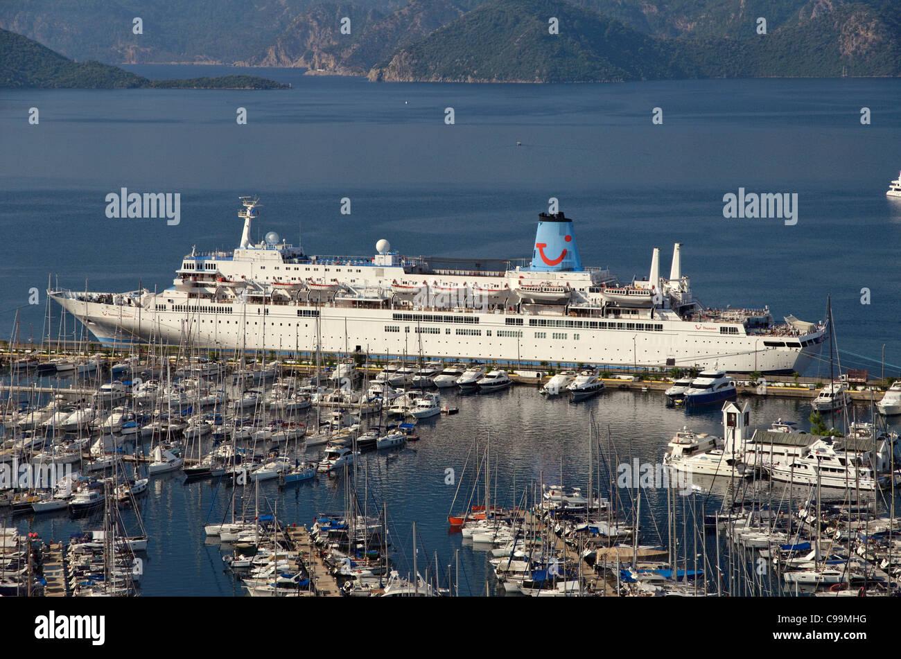 Thomson 'Celebration' cruise ship at Marmaris cruise port, Mugla, Turkey - Stock Image