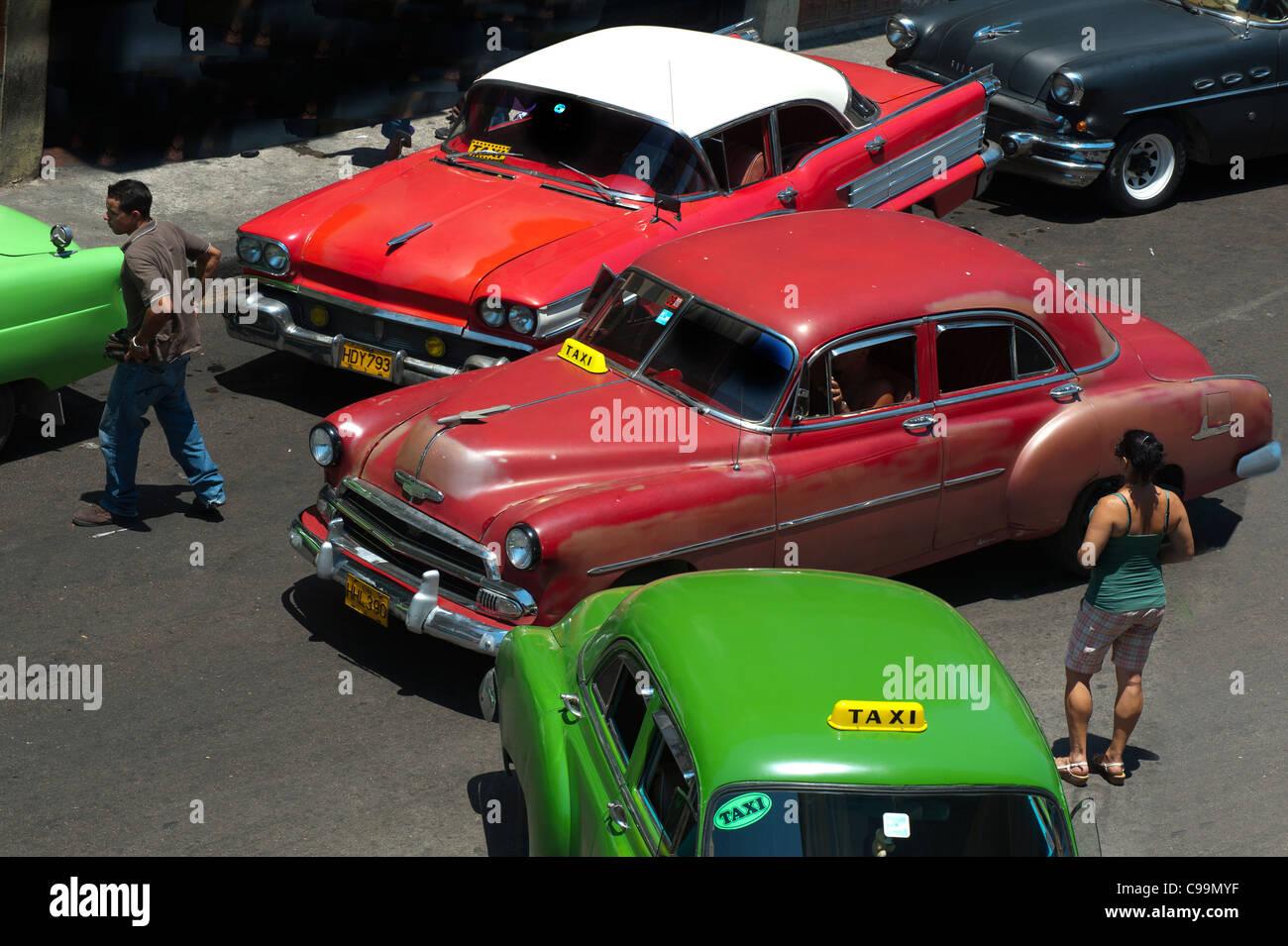 Old Havana vintage cars Cuba - Stock Image