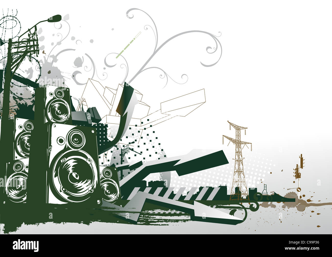 illustration of style urban background - Stock Image