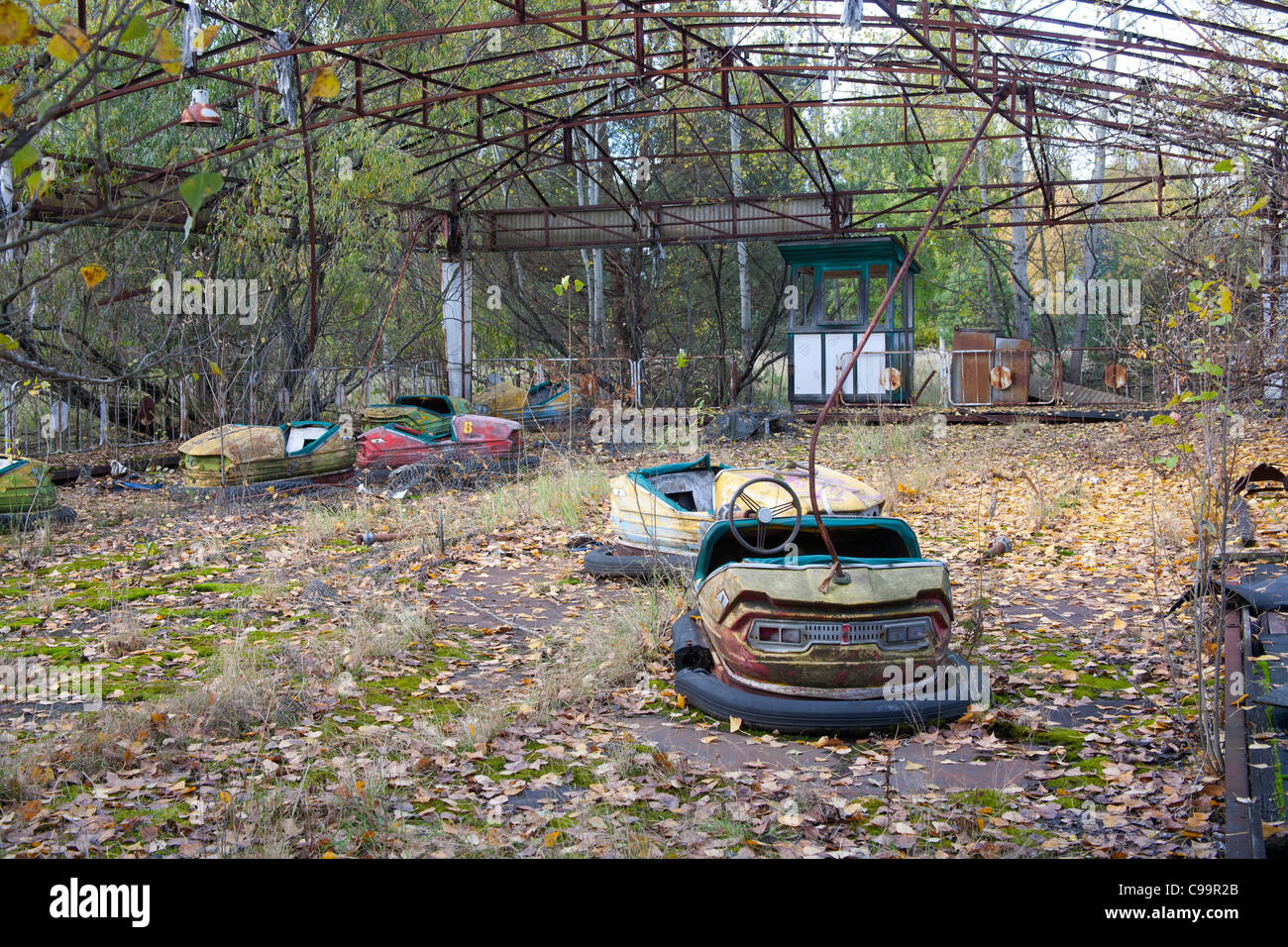 The dodgems in the Pripyat Amusement Park Pripyat Chernobyl exclusion zone Ukraine - Stock Image
