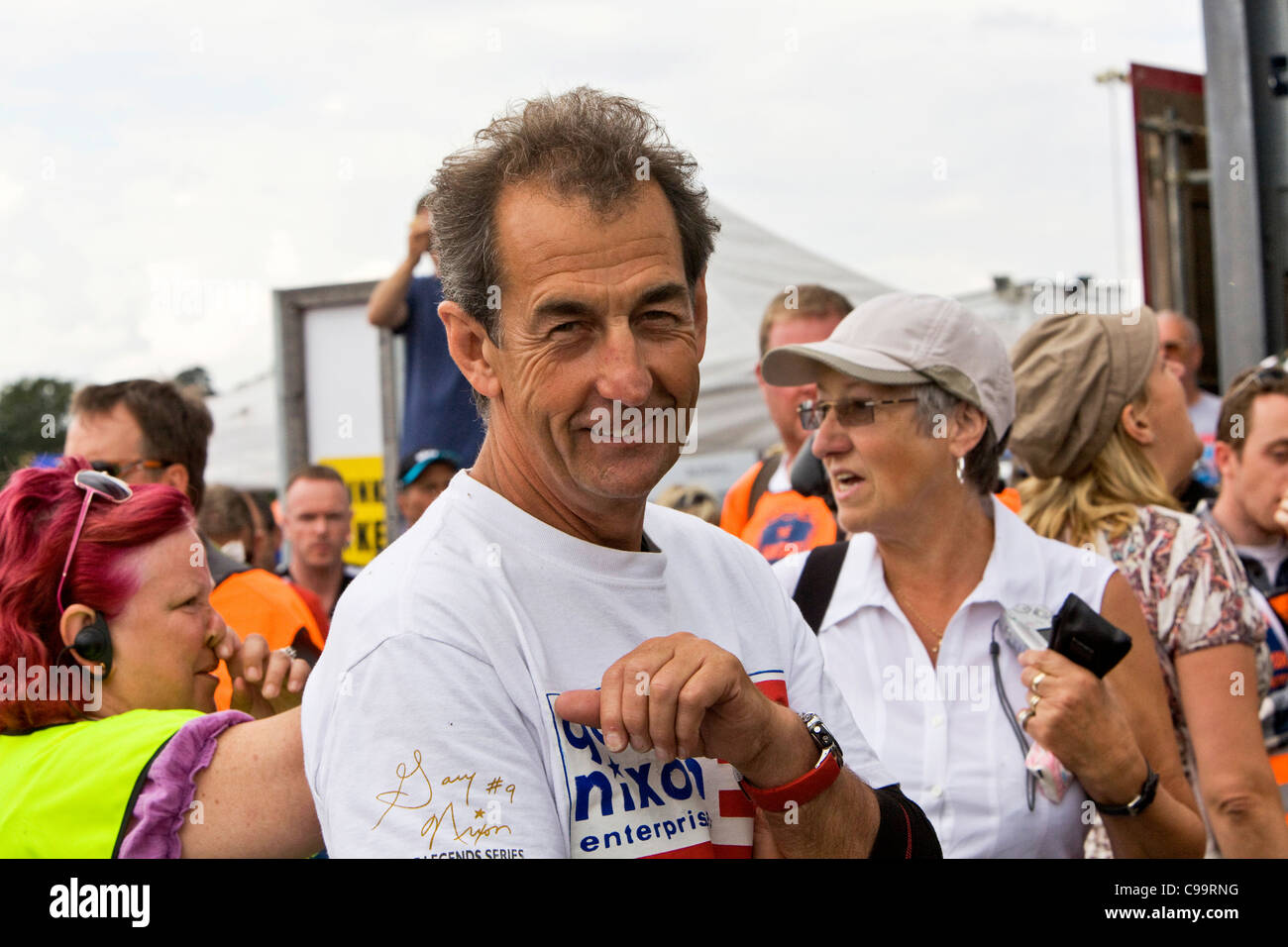 Steve Parrish, BBC Motor Bike commentator at Mallory Park Racing Circuit, Leicestershire.media - Stock Image