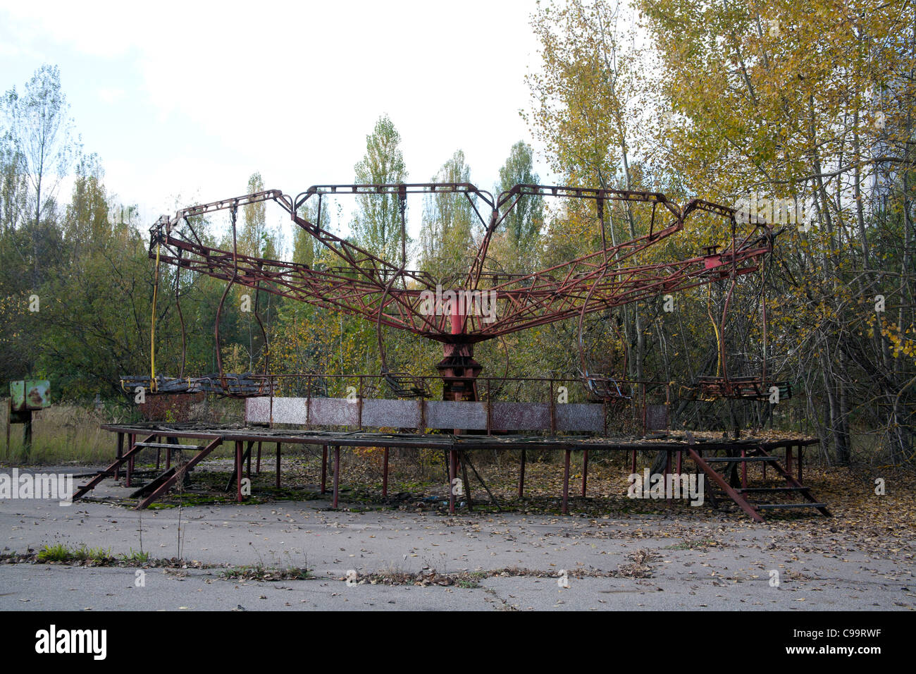 Carousel at the Pripyat Amusement Park, Pripyat Amusement Park Pripyat Chernobyl exclusion zone Ukraine - Stock Image