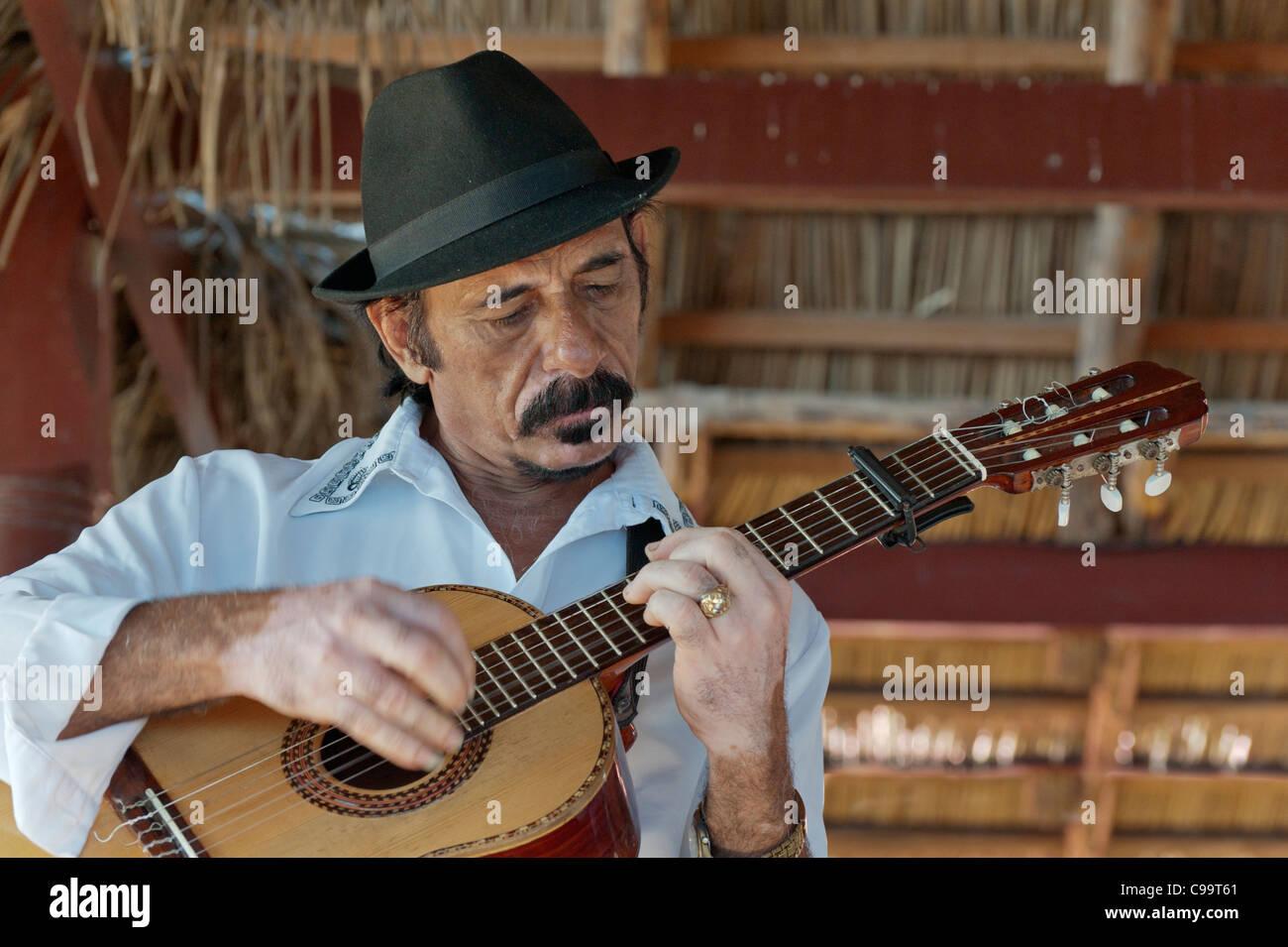 Portrait of a guitar player Santiago Cuba - Stock Image