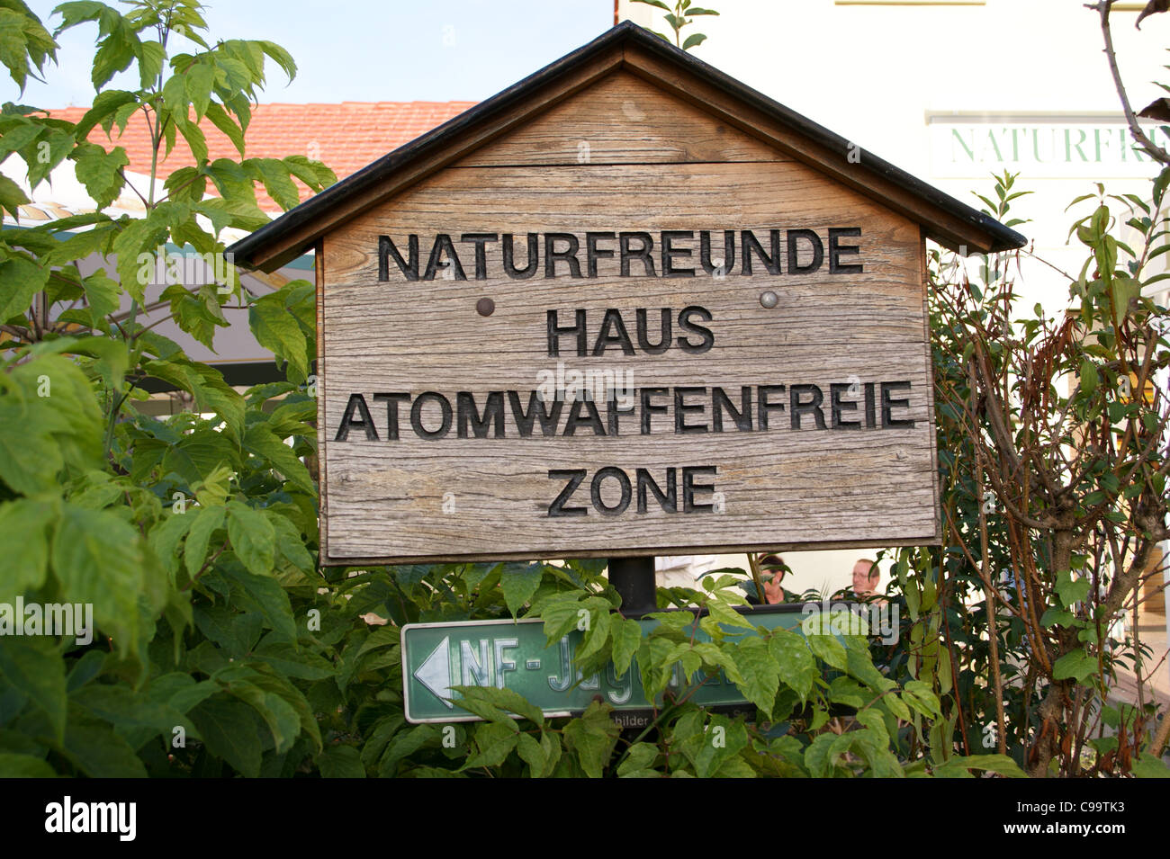 Conservation and nuclear-free zone sign, Speyer, Rheinland-Pfalz, Germany - Stock Image