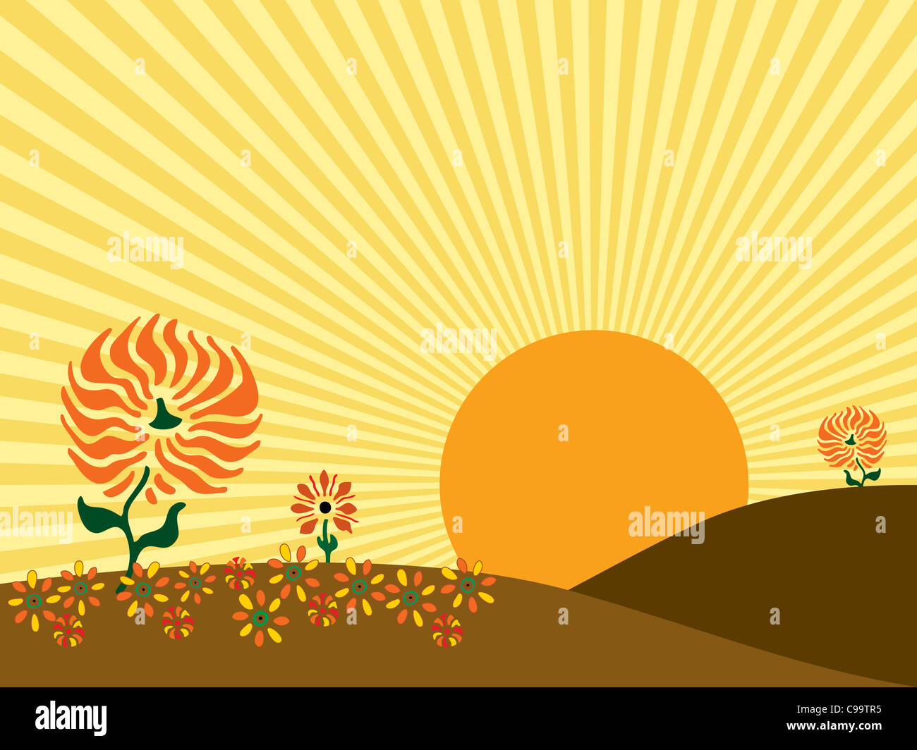 Illustration of a large sun rising behind the hills of an autumn meadow. - Stock Image