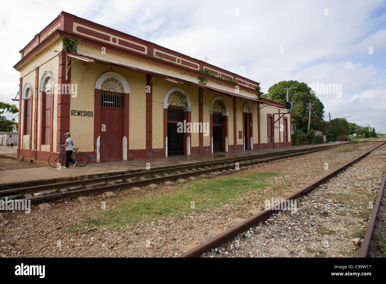 The railway station of Remedios which will soon be heaving with visitors for the parade. - Stock Image