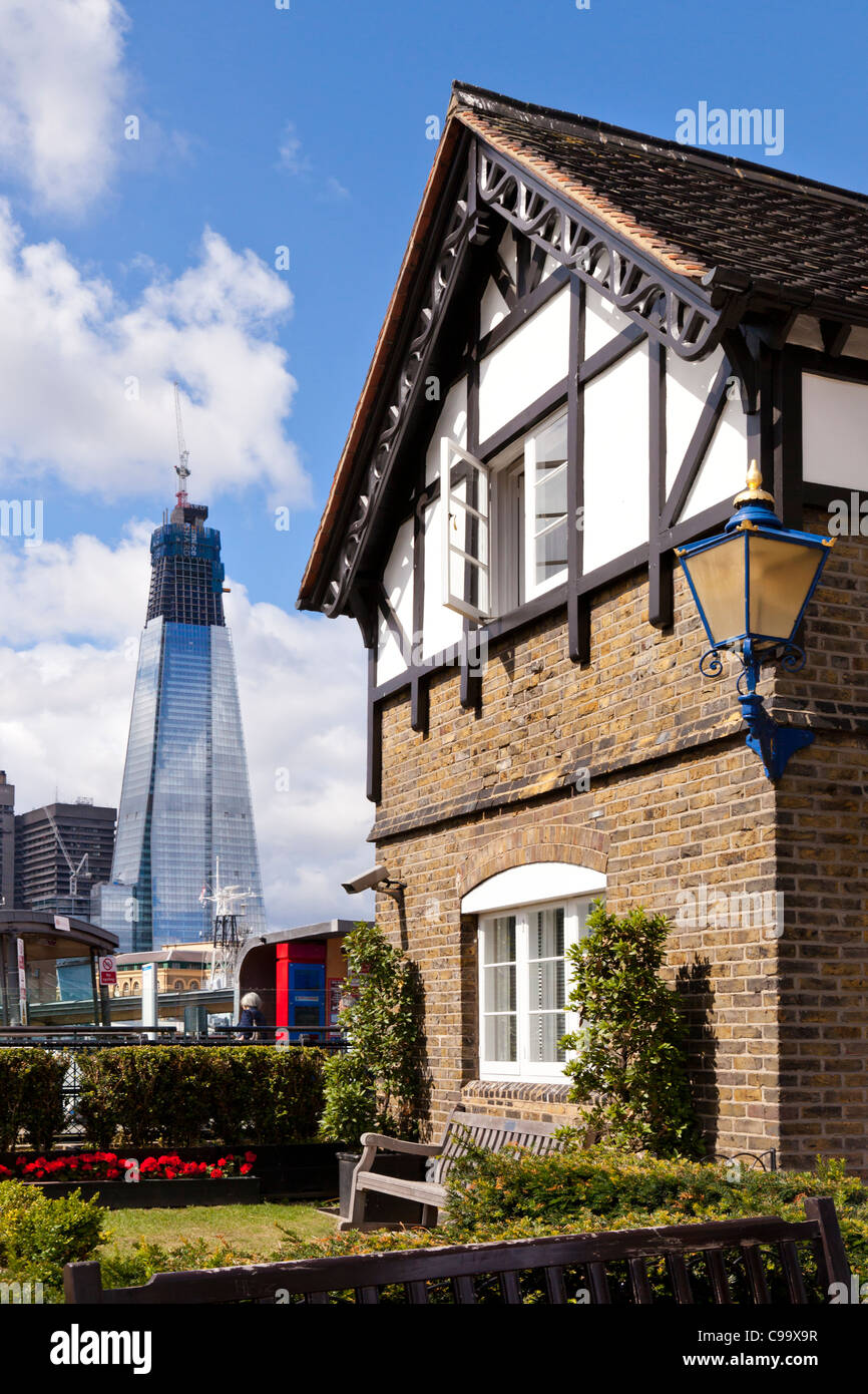 Vertical contrasting view of London's old and new architecture, London, City, United Kingdom, Great Britain - Stock Image