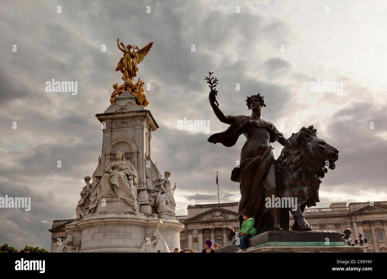 Queen Victoria Memorial with dark patinated bronze statue in front of Buckingham Palace, St James's, London, - Stock Image