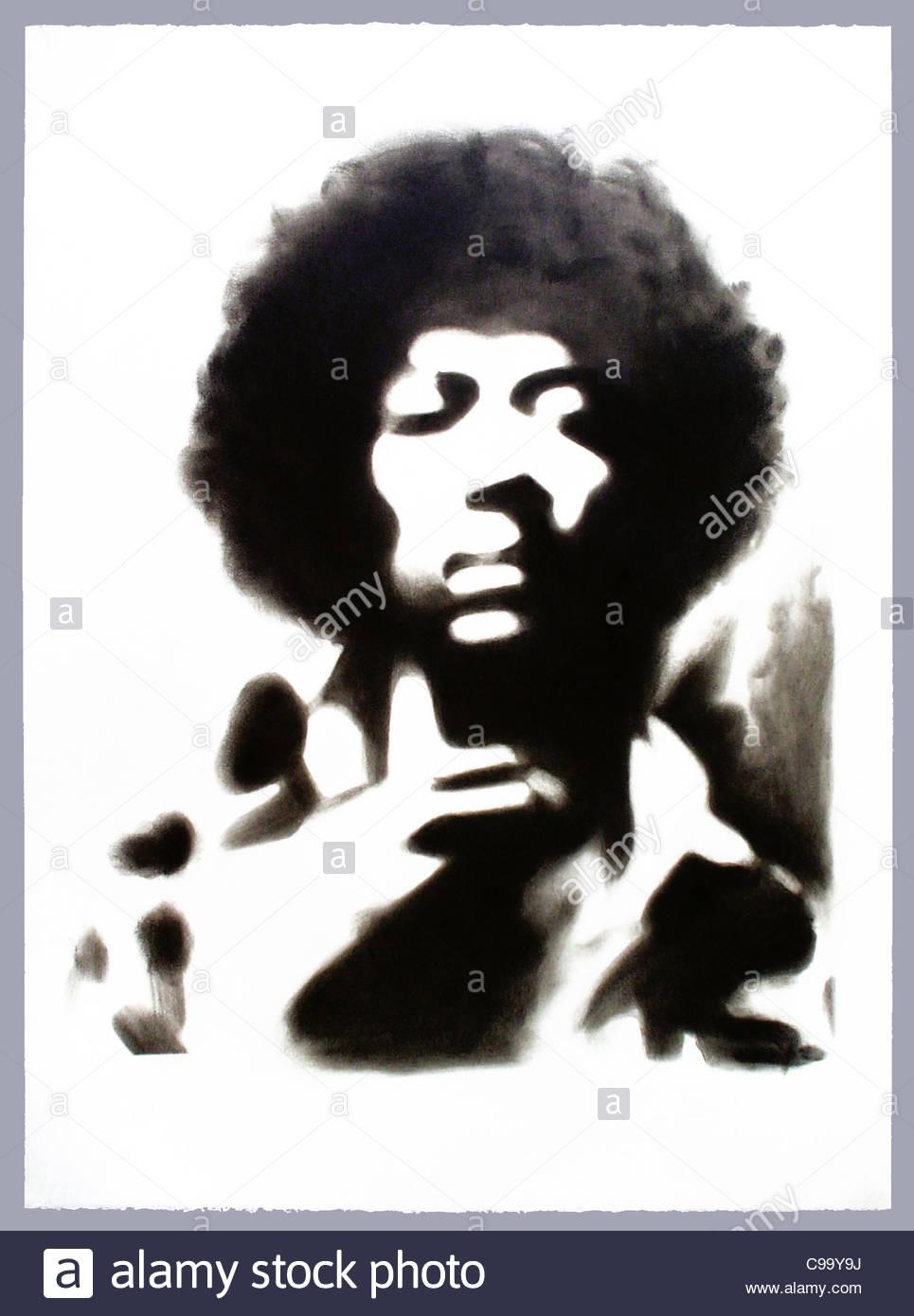 JIMI Hendrix Guitarist Musicians Afro S W Black And White