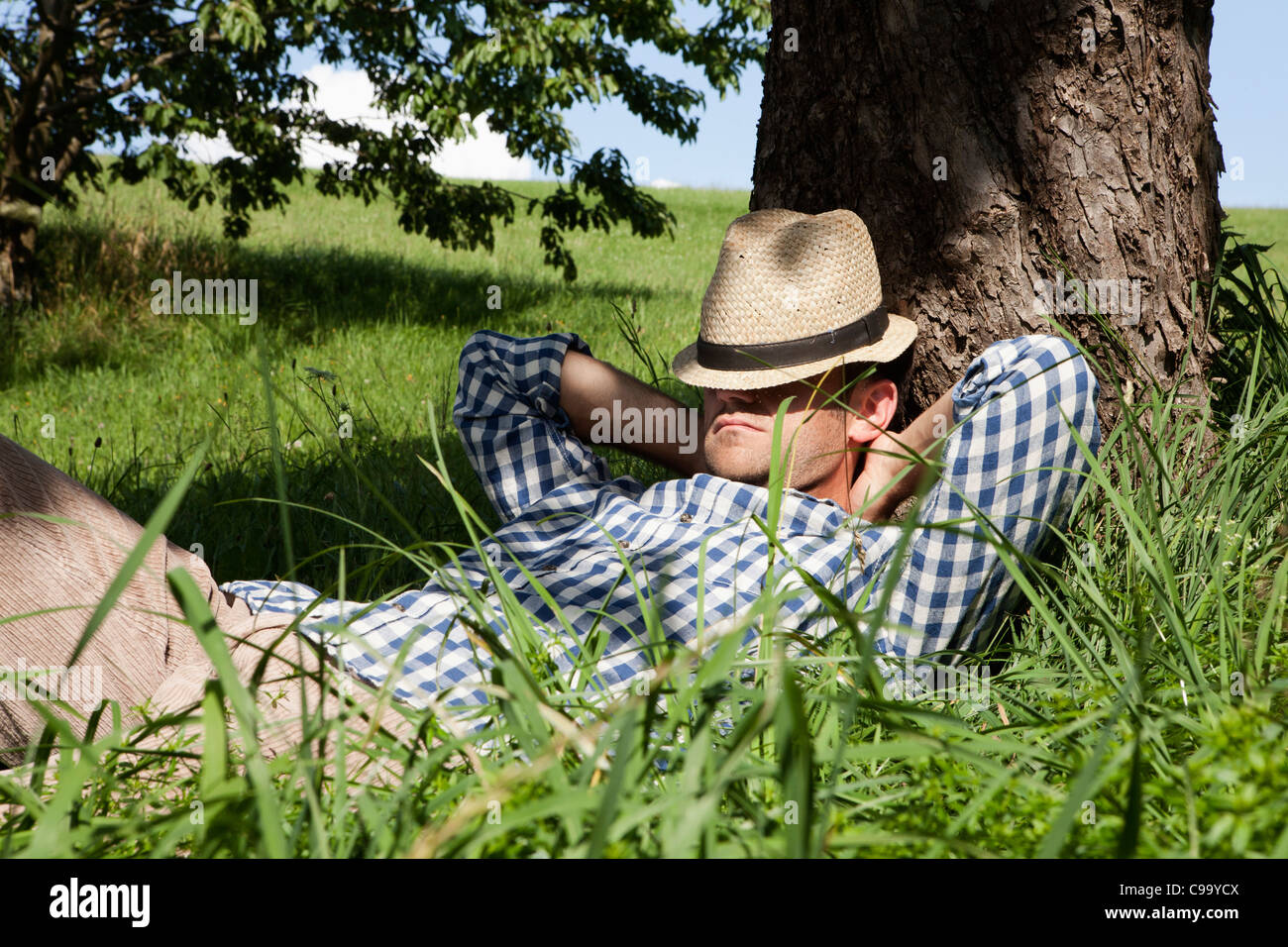 Germany, Bavaria, Altenthann, Man resting under tree - Stock Image