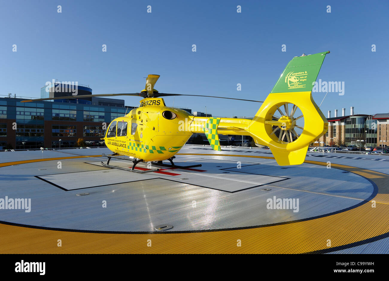 southampton general hospital helicopter landing pad - Stock Image