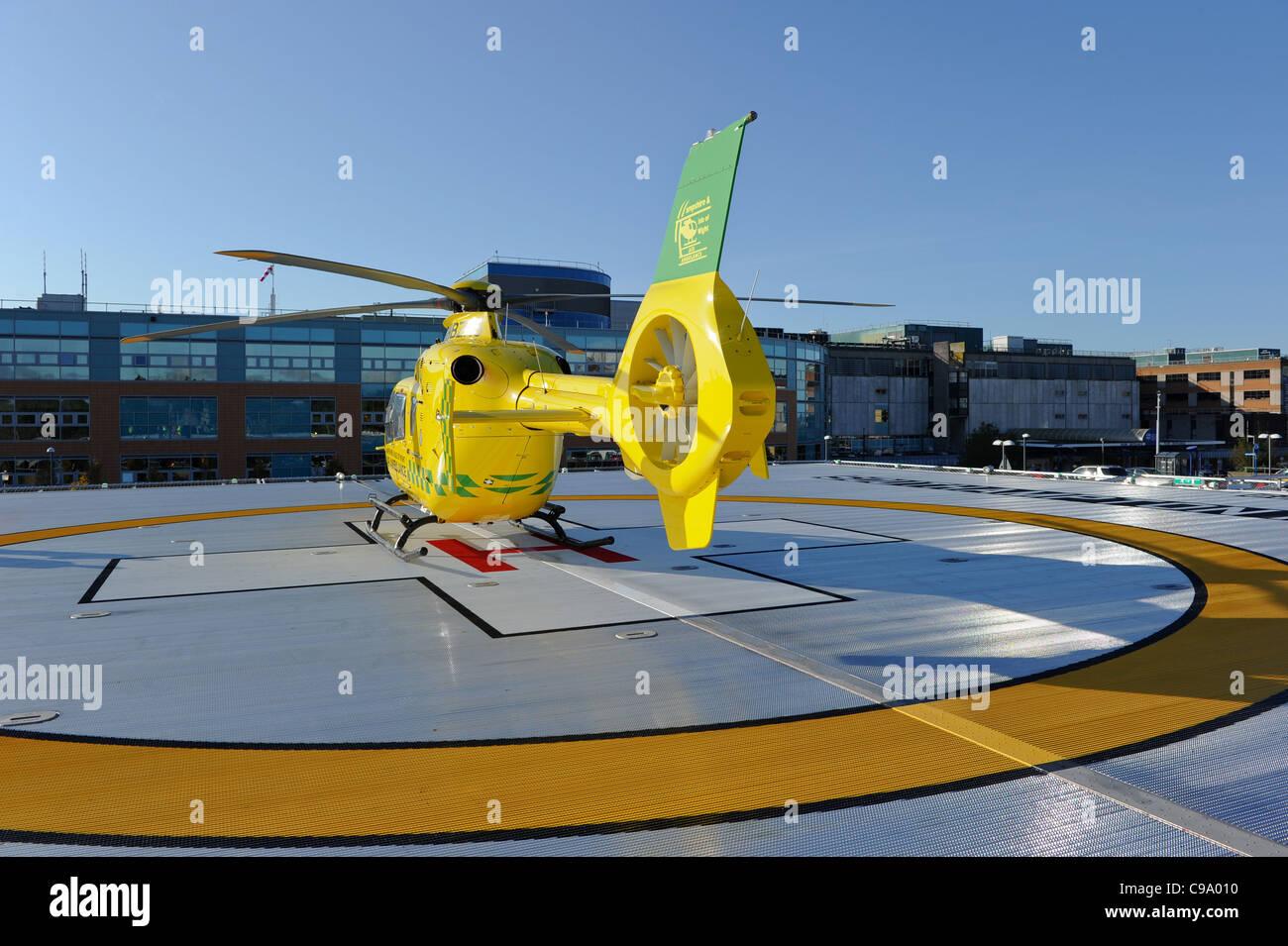 Southampton General hospital helicopter air ambulance landing pad - Stock Image