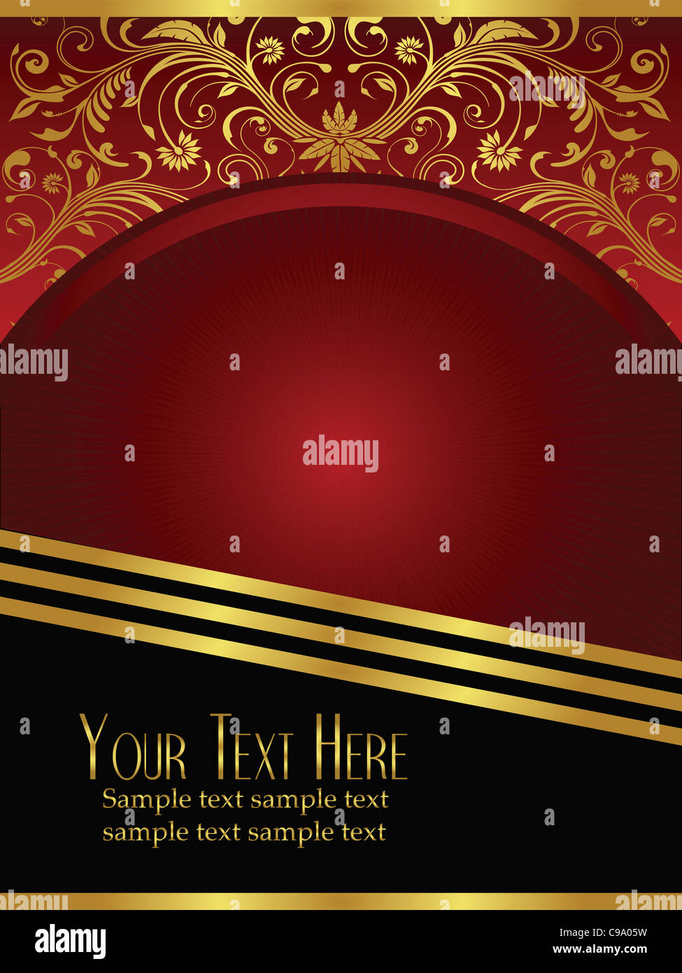 An elegant royal burgundy background vector with ornate gold lead design elements. - Stock Image