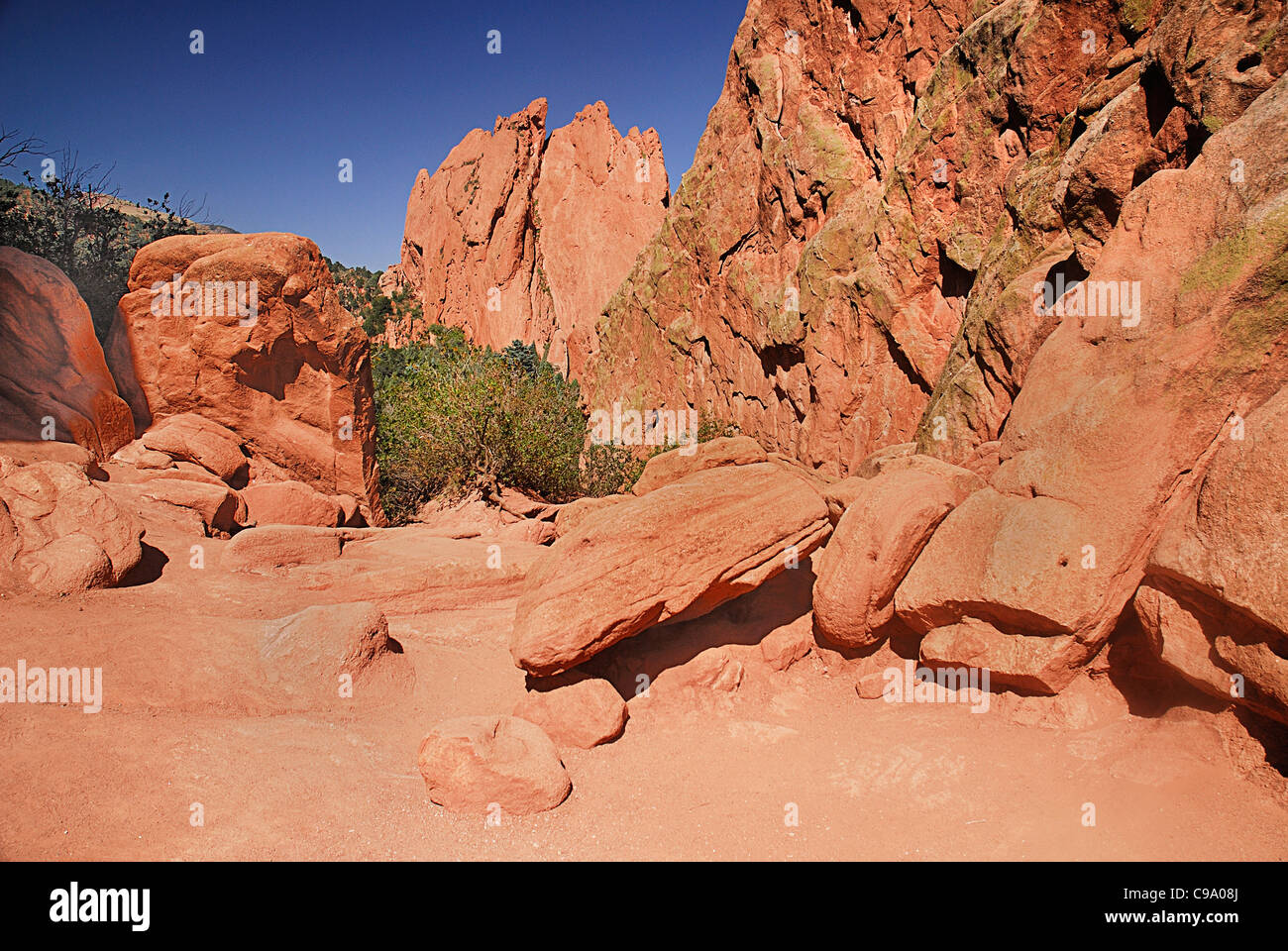 USA, Colorado, Colorado Springs, Garden of the Gods public park eroded sandstone rock. Stock Photo