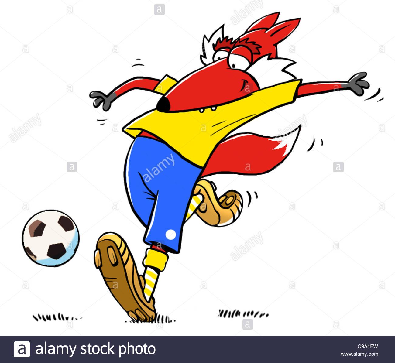 Soccer Fuchs shot grenade knackered clever tricky Droigk Soccer Footballs F - Stock Image