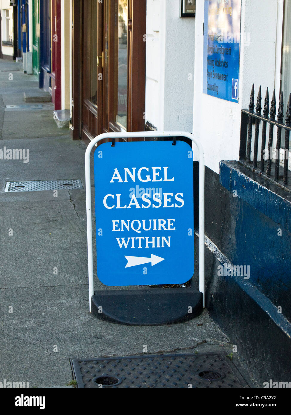 A sign outside an Angel shop (anything to do with angels) offering 'Angel Classes' in Skerries, County Dublin, - Stock Image