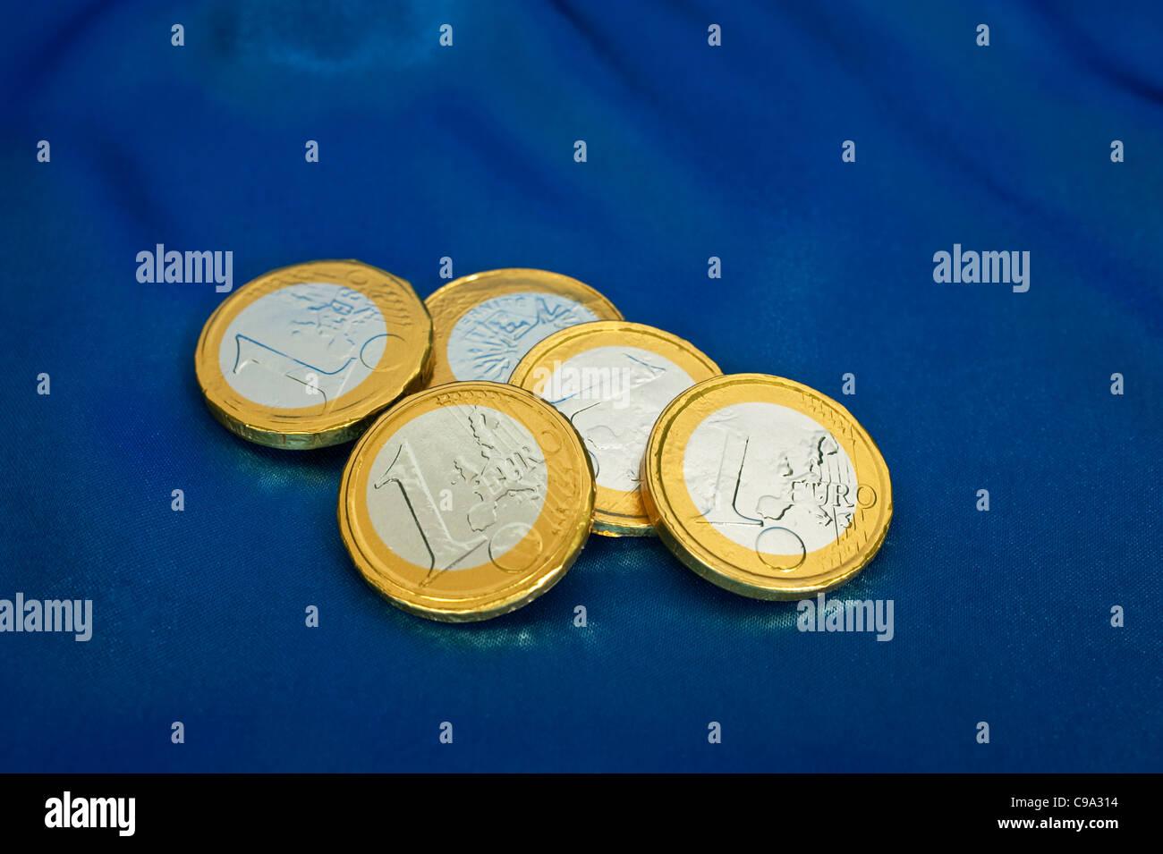 Mock chocolate Euro coins - Stock Image