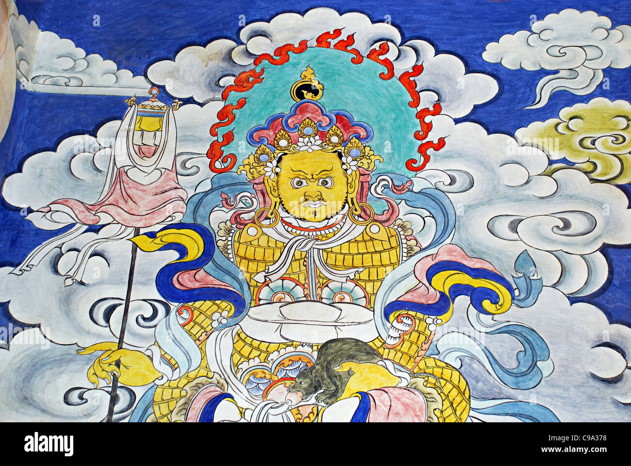 Mural Painting on the wall. Hemis Gompa a Tibetan Buddhist monastery of the Drukpa Lineage, located in Hemis, Ladakh, - Stock Image