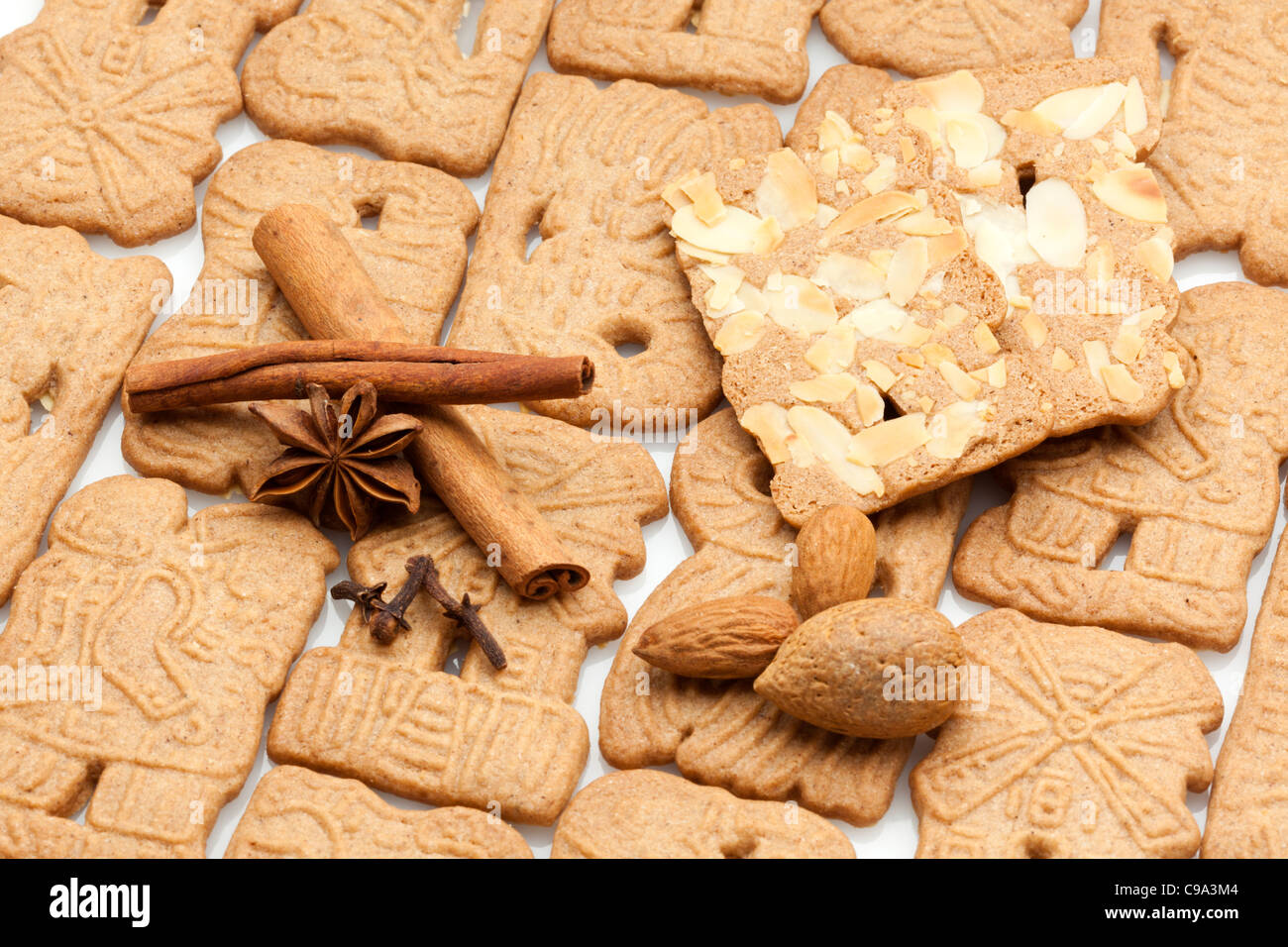 Dutch Speculaas Christmas Cookies Almonds And Spices Stock Photo