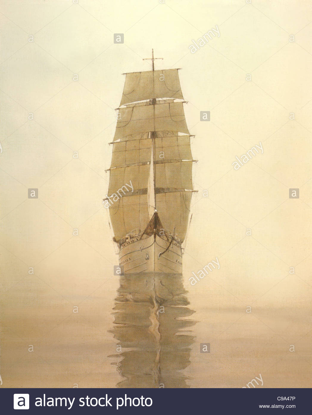 Sail training ship Gorch Foresail (I) - Stock Image