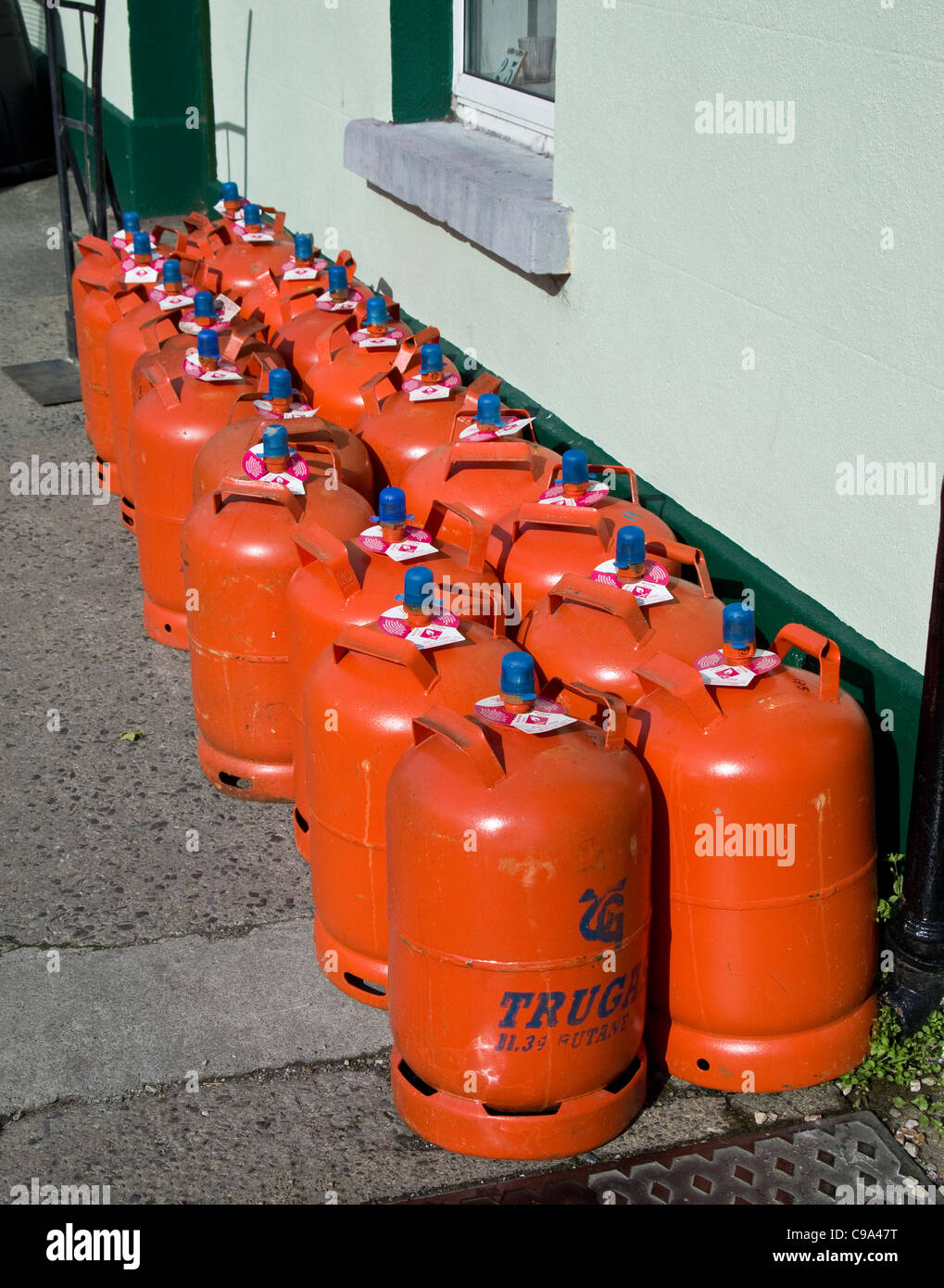 Domestic gas canisters on sale outside a hardware shop in Skerries, county Dublin, Ireland - Stock Image