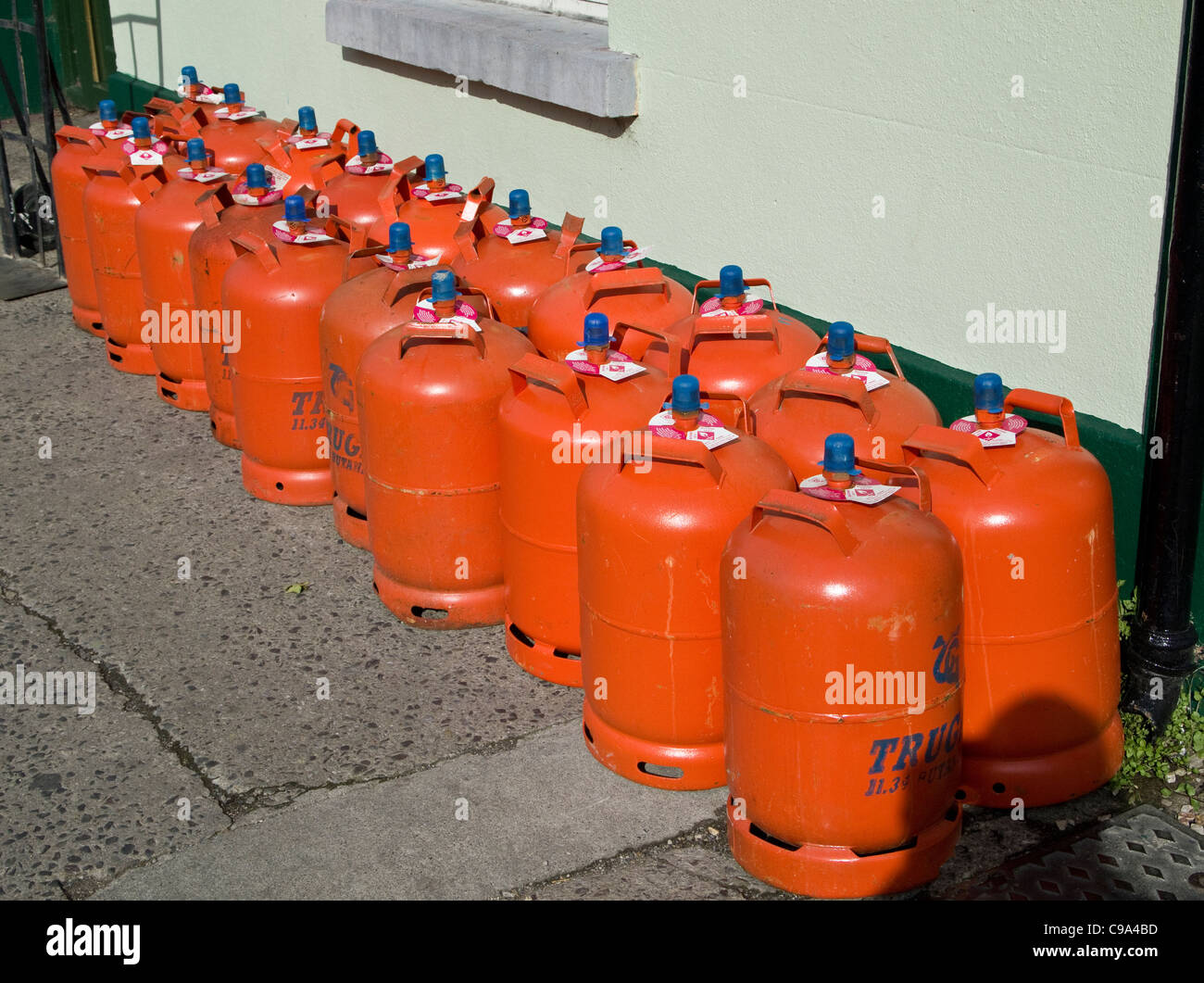 Domestic propane gas canisters on sale outside a hardware shop in Skerries, county Dublin, Ireland - Stock Image