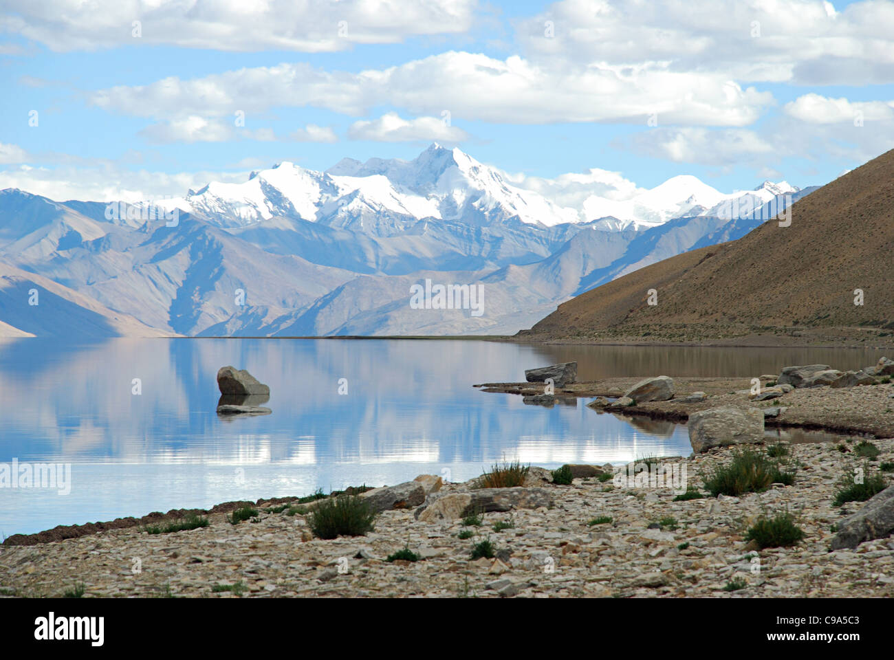 Reflection of snow clad Himalayan mountain ranges in Tsomoriri or Lake Moriri (official name: Tsomoriri Wetland - Stock Image
