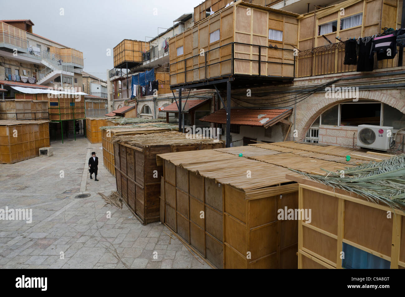 view with housing and booths. Sukkot festival. Mea Shearim. israel - Stock Image