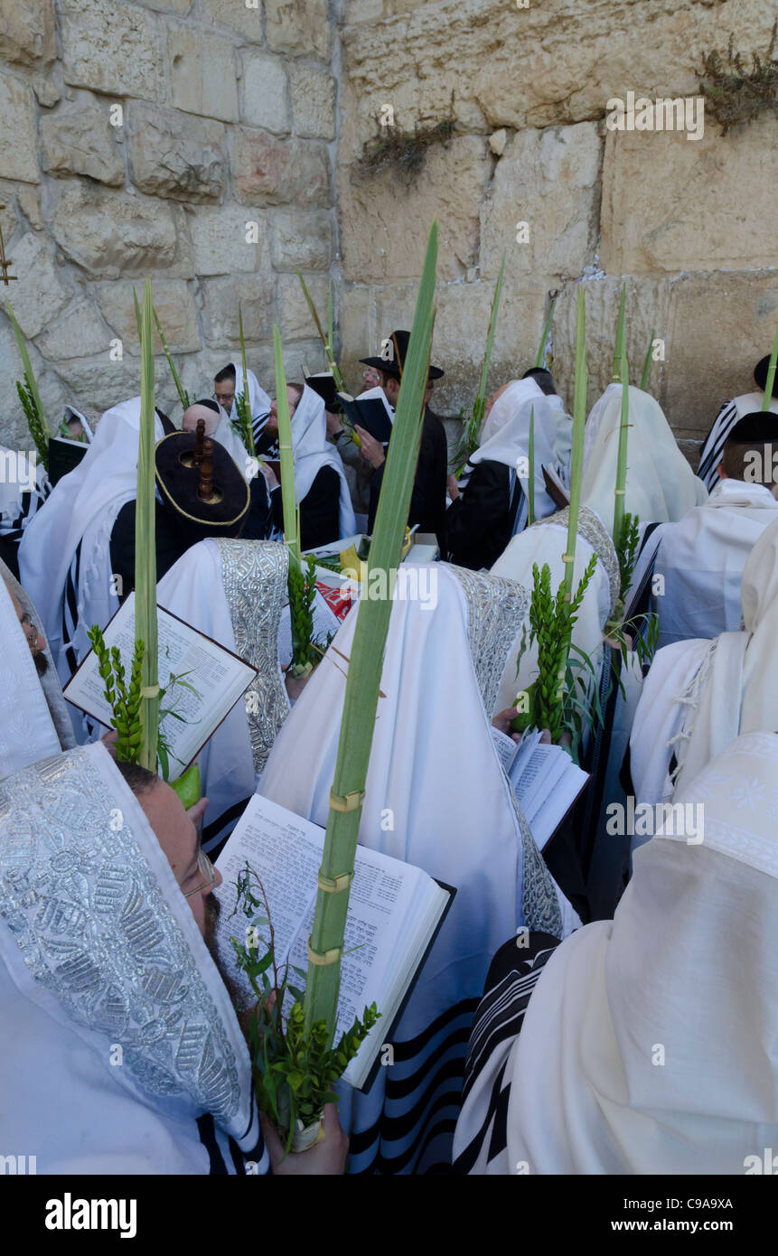 Sukkot celebrations with Lulav. Western Wall. Jerusalem Old City. Israel - Stock Image