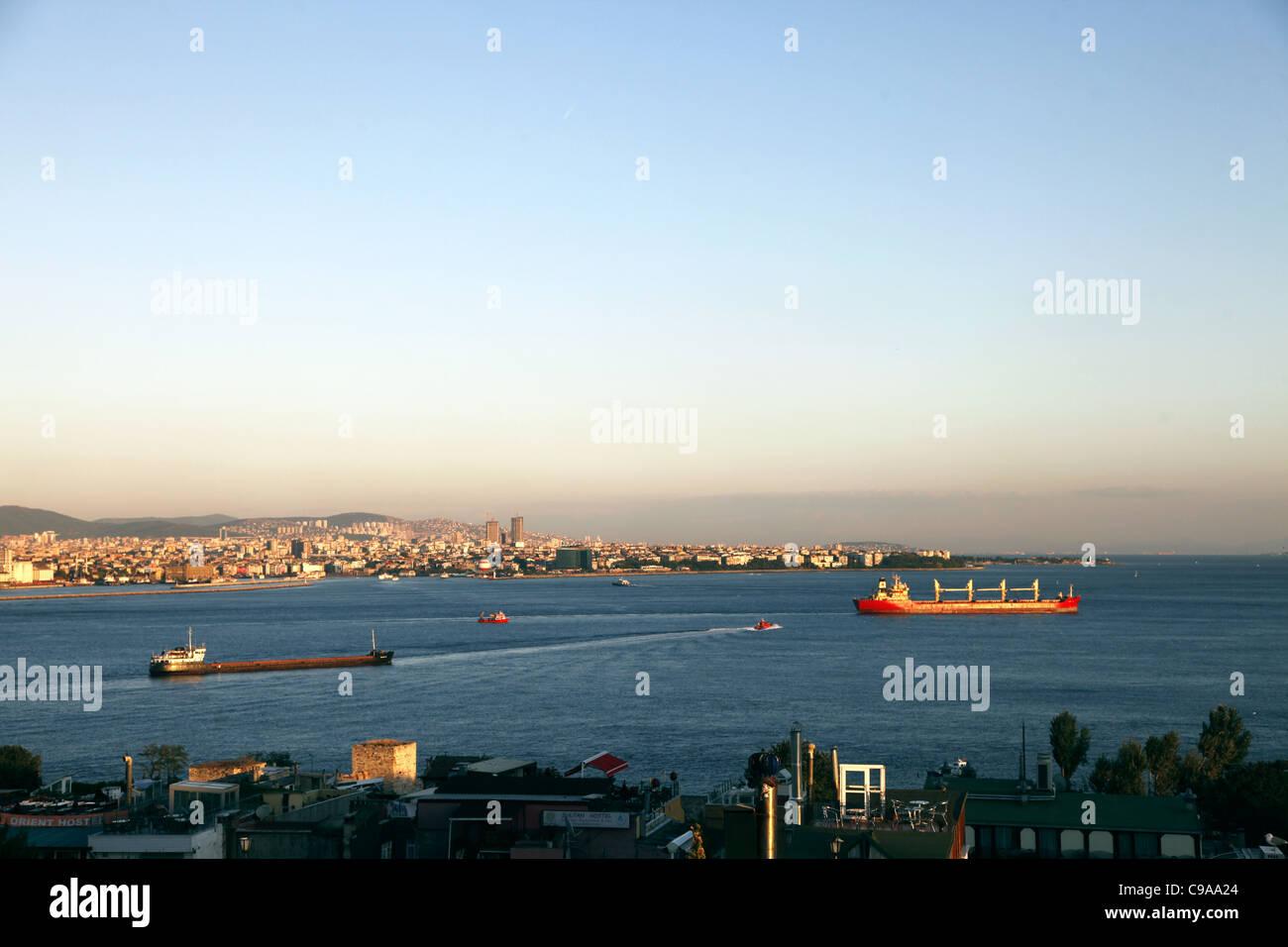 RED OIL TANKERS ON BOSPHORUS TAKSIM ISTANBUL TURKEY 03 October 2011 Stock Photo