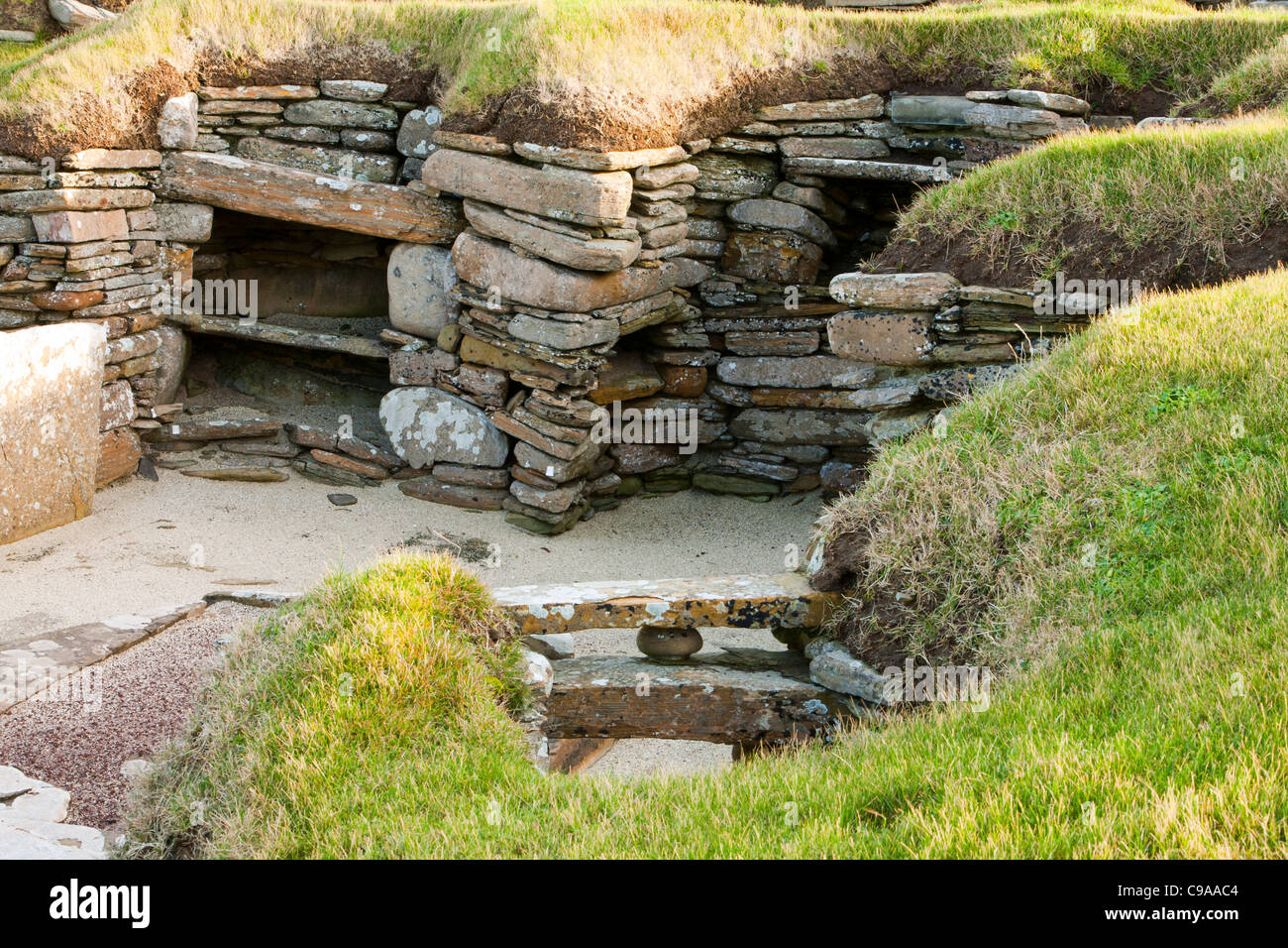 Skara Brae on Orkney's mainland is regarded by many as the most remarkable monument in Europe. Stock Photo