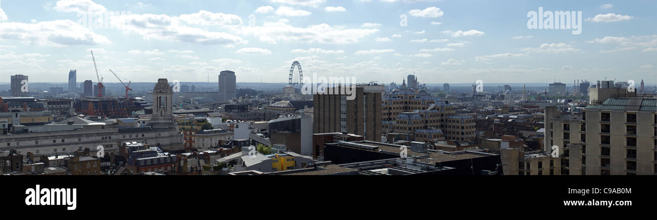 High level view over London with the wheel in background - Stock Image