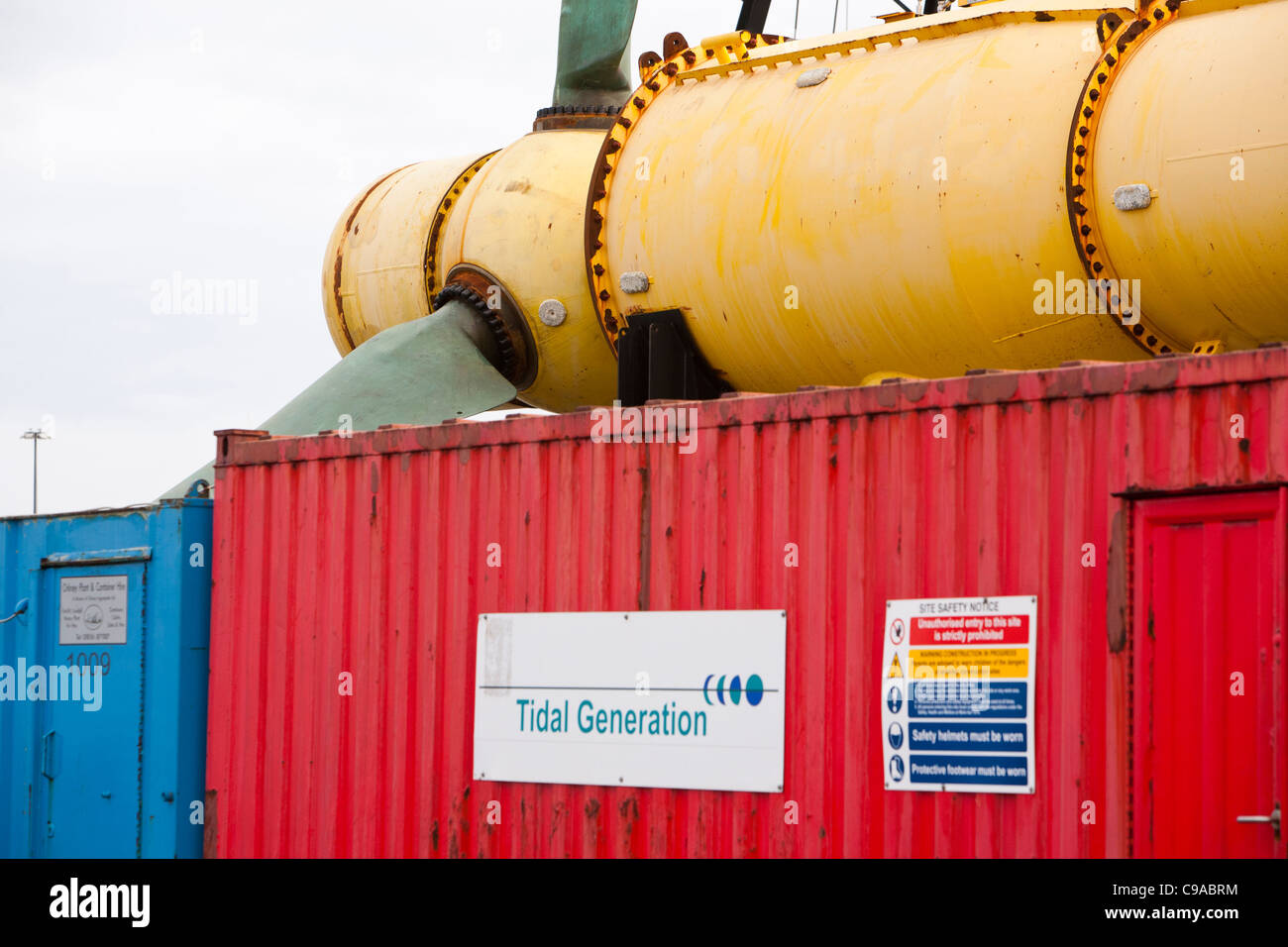 A tidal energy turbine on the dockside in Kirkwall, Orkney, Scotland, UK. - Stock Image