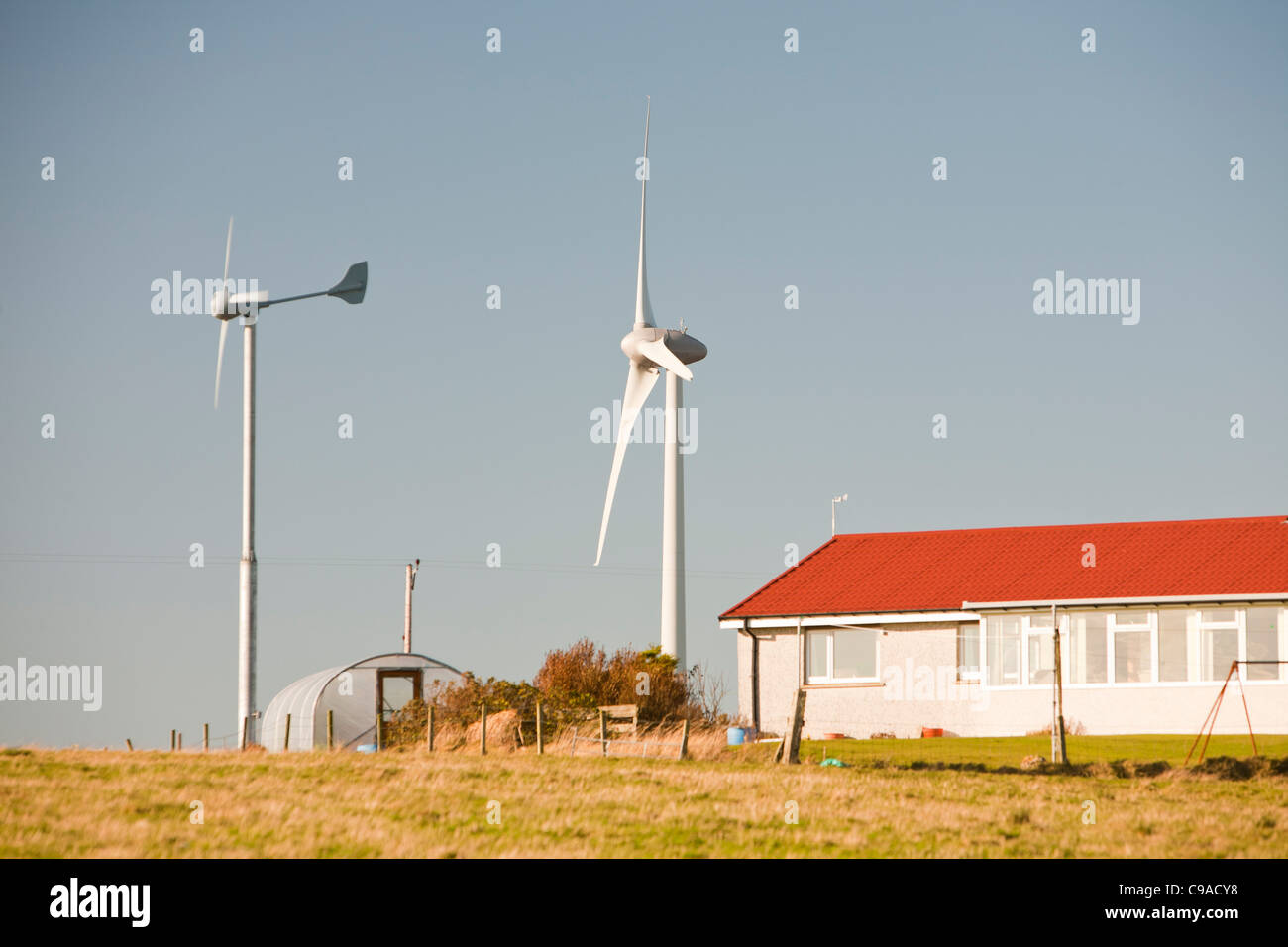 An Enercon 2.3 MW wind turbine on Flotta in the Orkney isles, Scotland, UK. - Stock Image