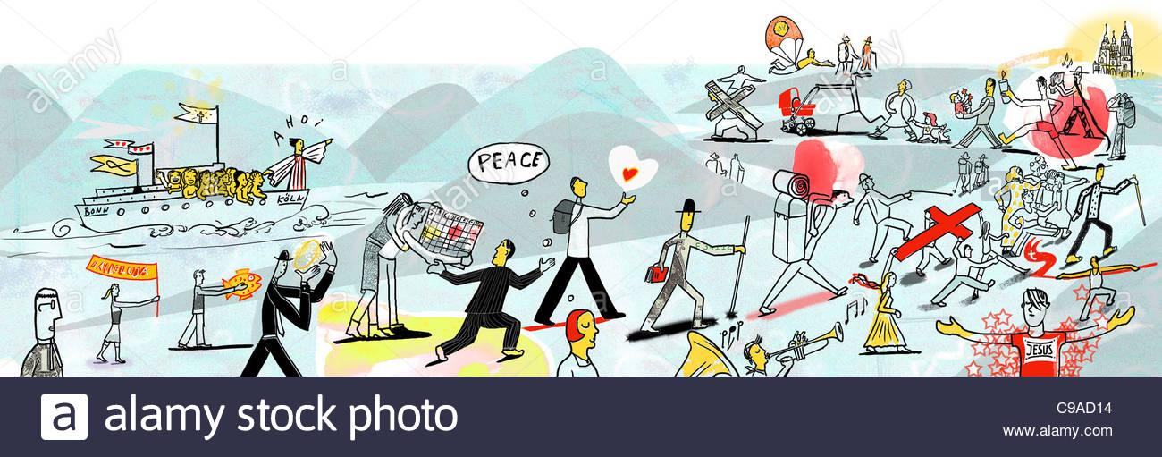 Church Peace pilgrimage Religions - Stock Image
