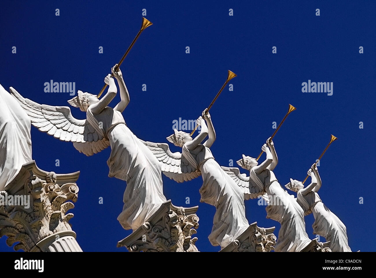 USA, Nevada, Las Vegas, The Strip, detail of winged statues out side Caesars Palace hotel and casino. - Stock Image