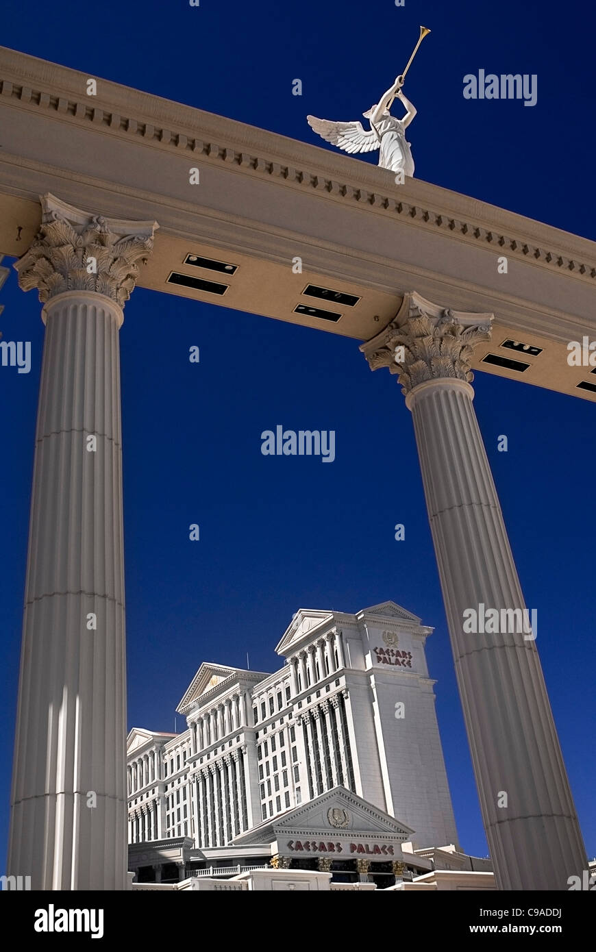 USA, Nevada, Las Vegas, The Strip, winged statue detail outside Caesars palace hotel and casino. - Stock Image