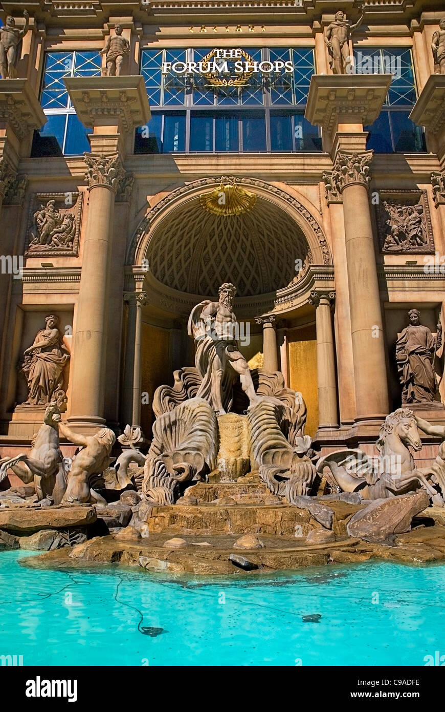 USA, Nevada, Las Vegas, The Strip, Trevi fountain replica at the entrance to Caesar's Palace Forum Shops. - Stock Image