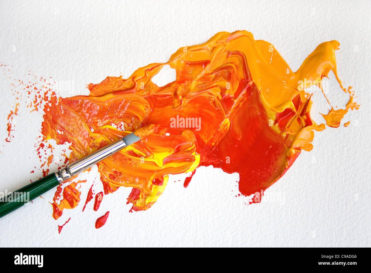 Orange Paint Brush - Stock Image