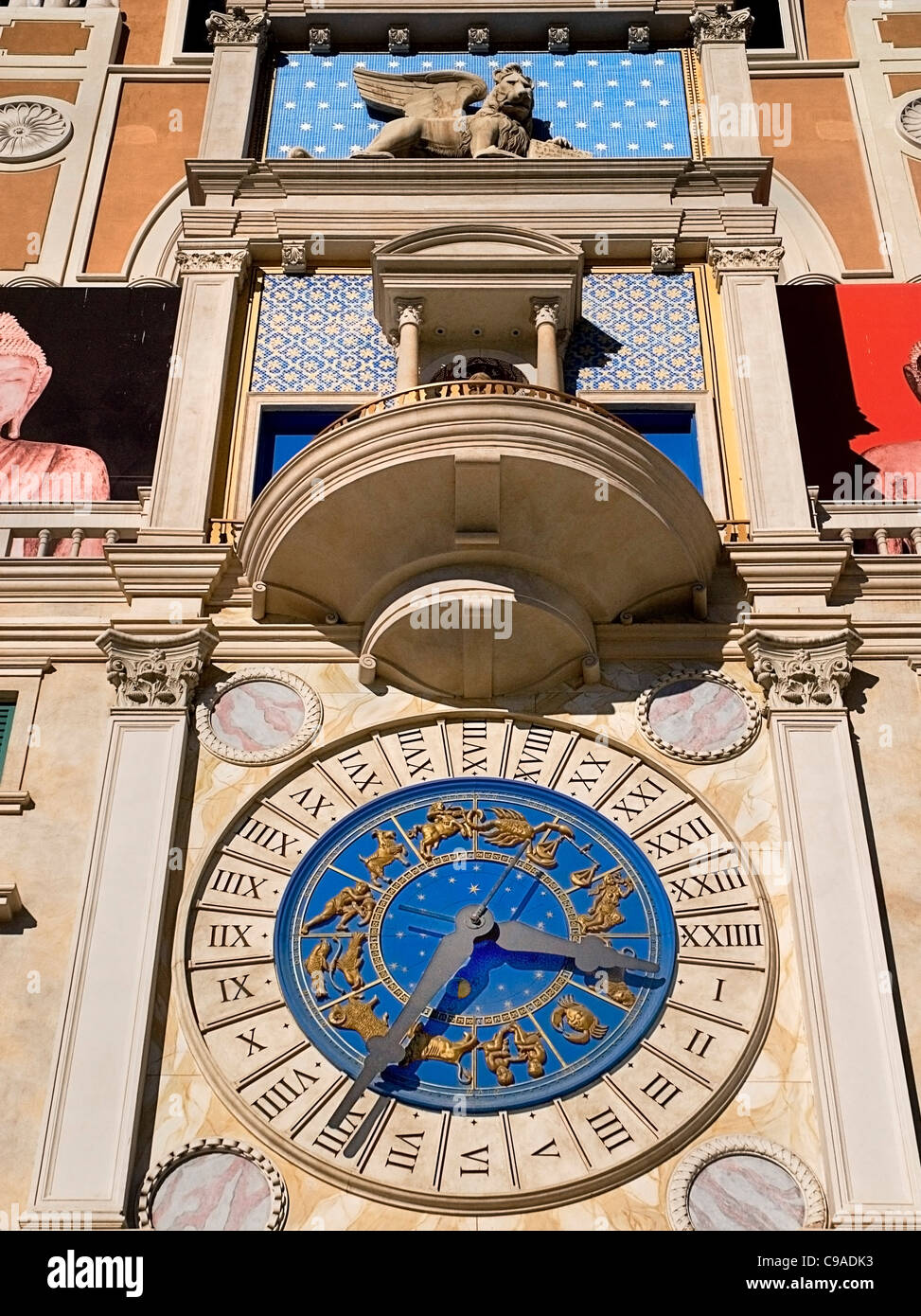 USA, Nevada, Las Vegas, The Strip, clock detail above the entrance to the Venetian hotel and casino. Stock Photo