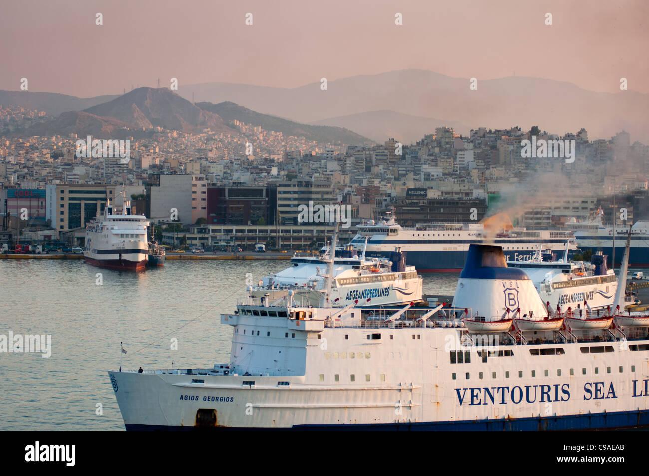Piraeus, Athen's port bustling with ships. Greece. - Stock Image