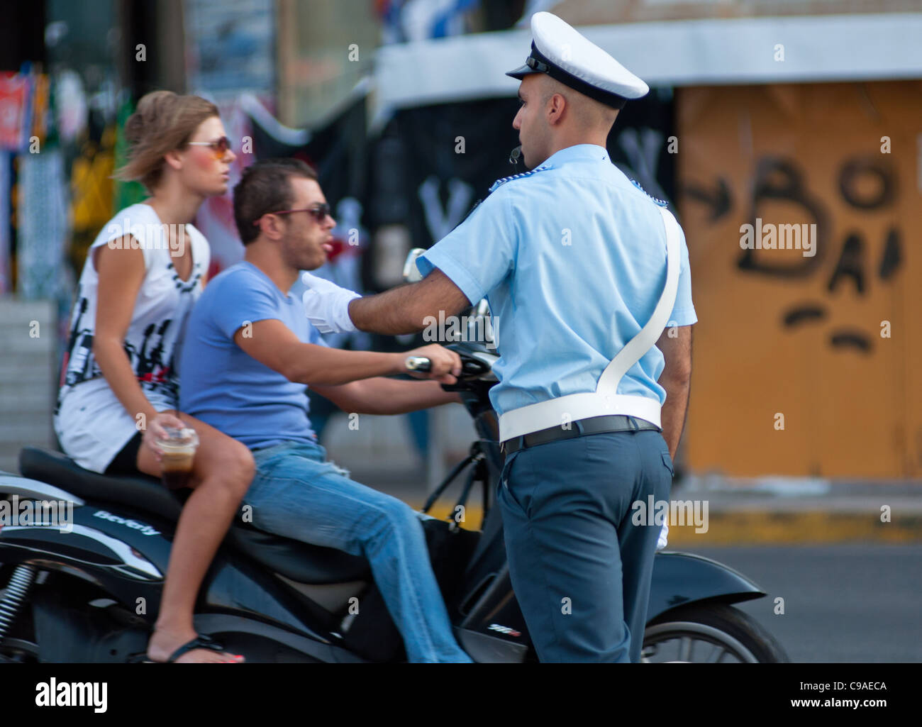 Traffic cop in Athens, Greece. 2011. - Stock Image