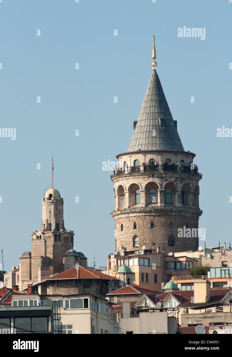 Galata Tower, Medieval Genoese Stone Tower in Istanbul, Beyoglu, Turkey. - Stock Image