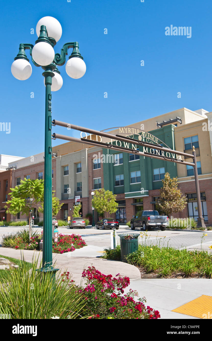 Beautiful view of the entrance to Old Town Monrovia in California. - Stock Image