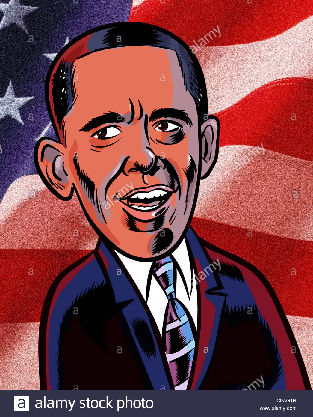 Obama redblue - Stock Image