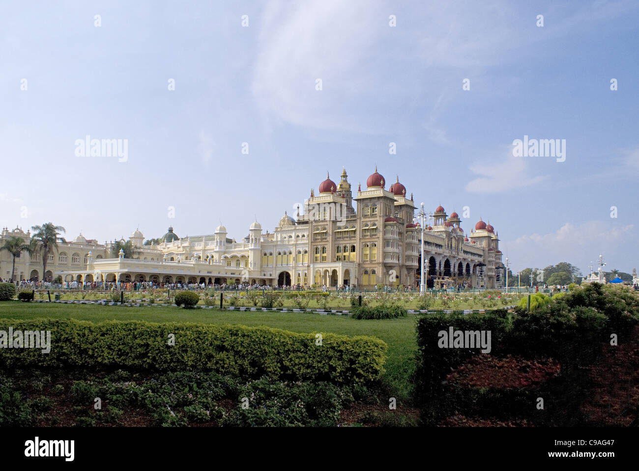 The Palace of Mysore, Mysore, Karnataka India. Long Shot. Official residence of the Wodeyars — rulers of Mysore - Stock Image
